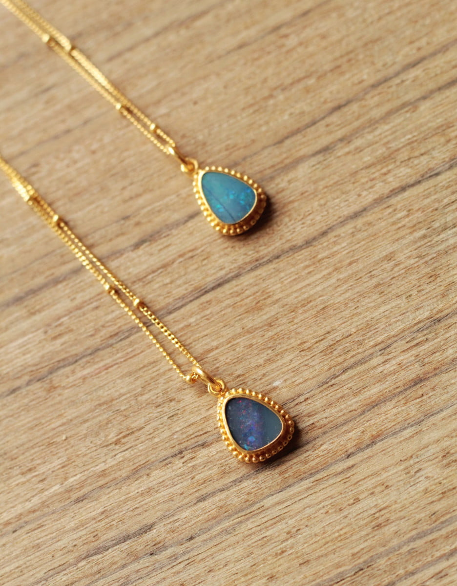 Boho Opal Halskette Vergoldet