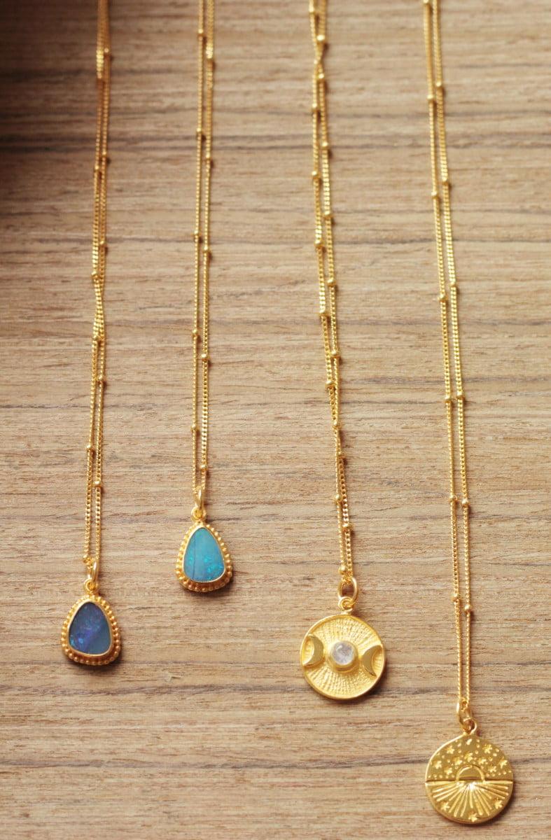 Boho Edelstein Halsketten Opal