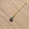 Edelstein Halskette Opal 925 Sterling Silber vergoldetet