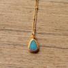 Opal Halskette vergoldet Türkiser Opal Handgefertigter Schmuck (5)