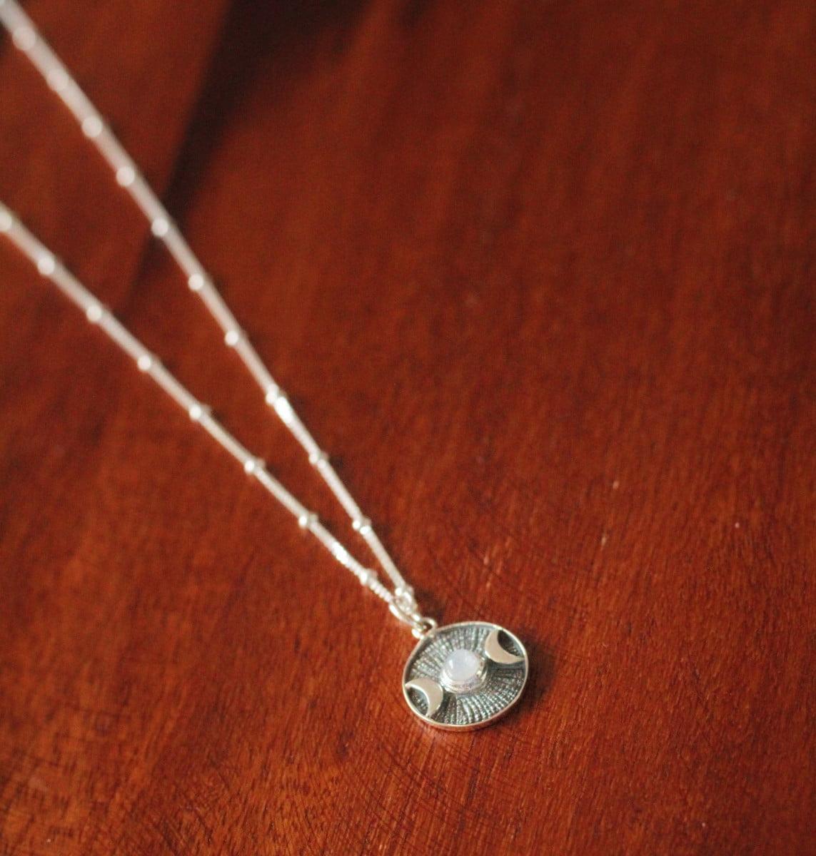 Boho Halskette 925 Silber Monde Medaillon Mondstein Witchy Schmuck Hippie Silberschmuck