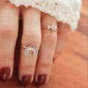 Feiner Silber Ring Mond Halbmond 925 Silber Boho Ring Knuckle