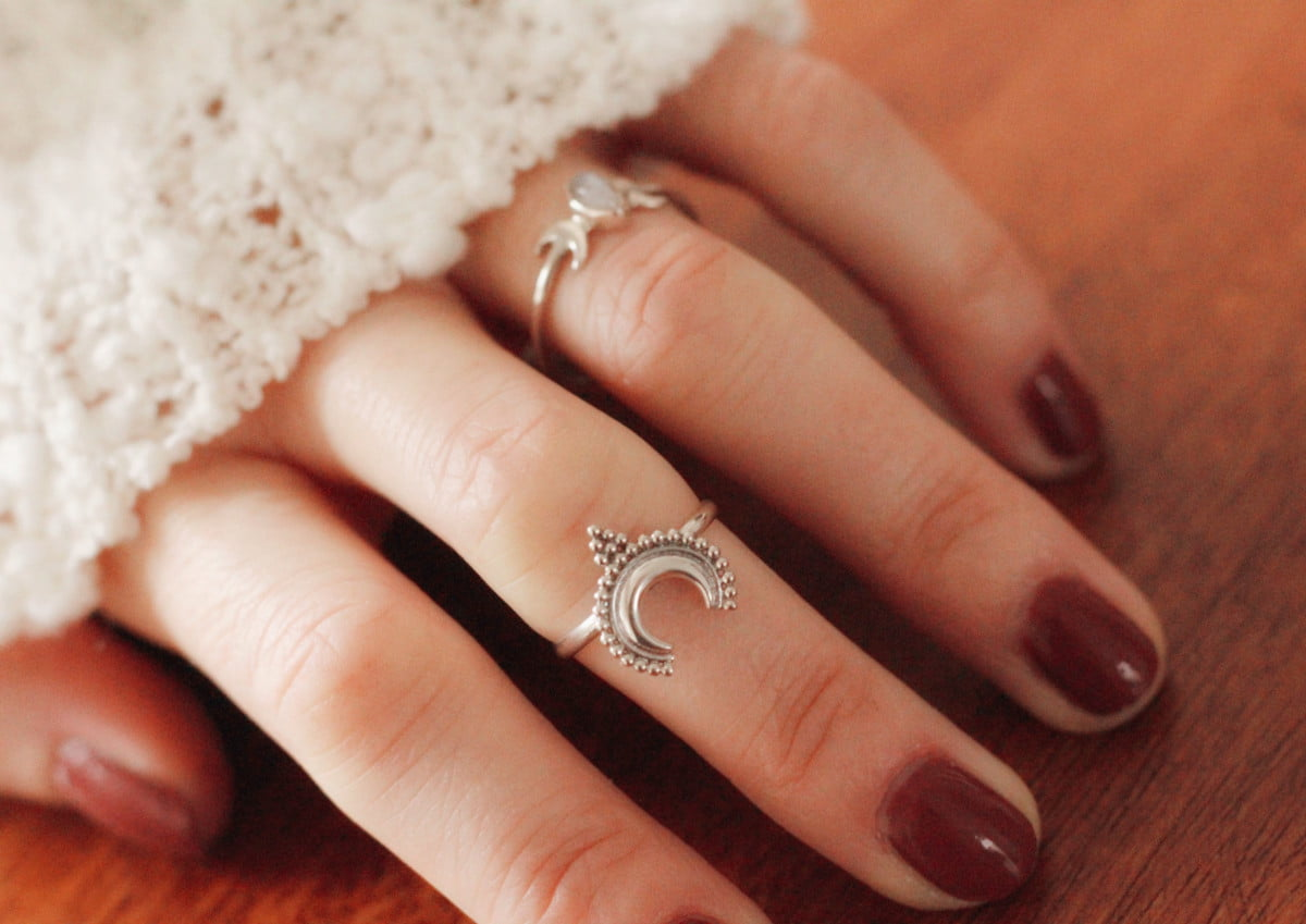 Fine silver ring moon crescent 925 silver moon jewelry