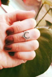 Fine silver ring moon crescent 925 silver witchy gypsy jewelry