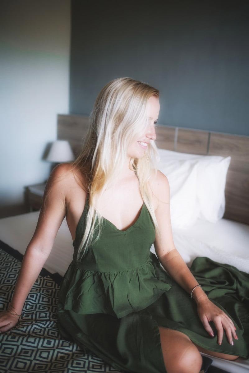 Boho Sommer Kleid Zweiteilig Olivgrün Zweiteiler Kleid (3)