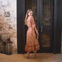 Boho Hippie Sommer Wickelkleid Beige Terracotta (1)