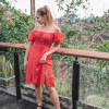 Schulterfreies Lolita Kleid Polka Dot Rot, Boho Sommer Kleid kurz, Mini Kleid Off Shoulder, Strand Kleid Urlaub