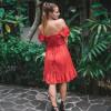 Kurzes Sommerkleid Polka Dor Rot Minikleid Lolita Kleid