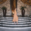 Polka Dot Wickelkleid Senf Gelb Sommerkleid Boho Chic Style