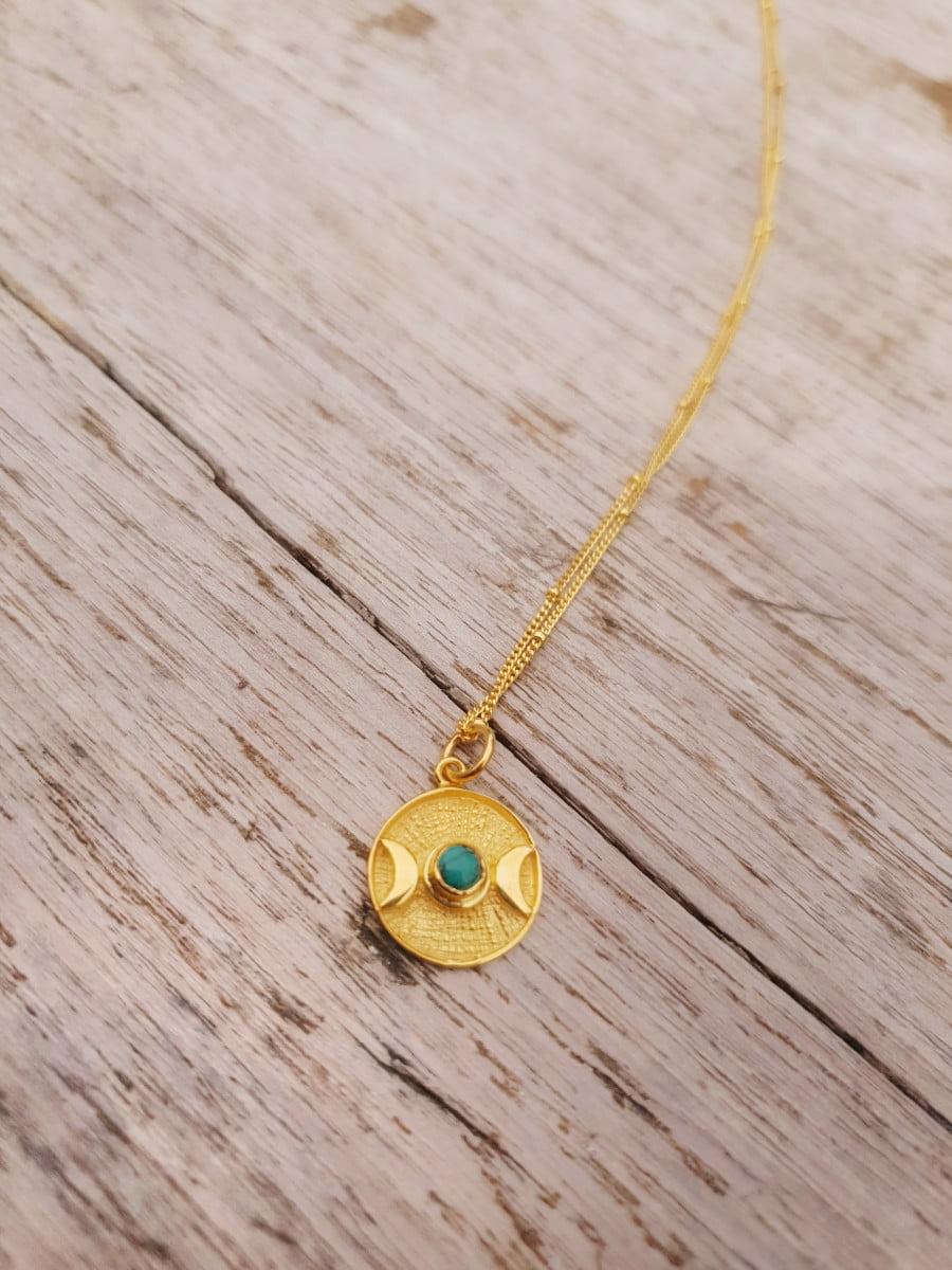 Boho Mondkette Gold Türkis